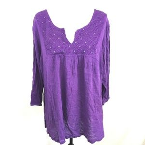 Simply Emma Embroidered Mirror Crinkle Peasant Top